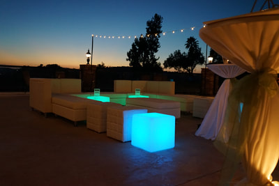 White Lounge Furniture Rental, Wedding Reception Furniture, LED Cube Rentals